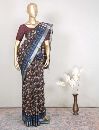 Black cotton festive events saree