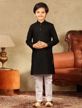 Black cotton festive kurta suit for boys