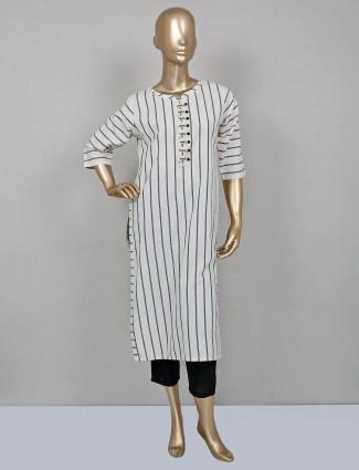 Black cotton palazzo with white striped kameez
