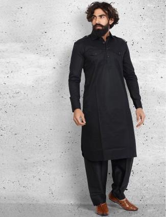 Black cotton plain pathani suit