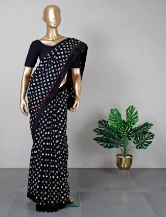Black cotton printed festive saree