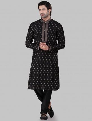 Black cotton silk  festive wear kurta suit