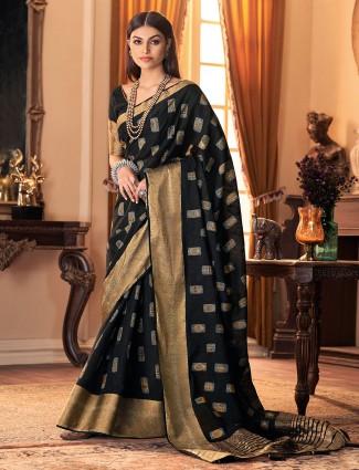 Black cotton silk festive wear sari
