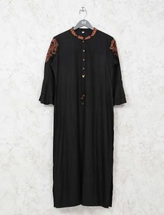 Black cotton thread work kurti