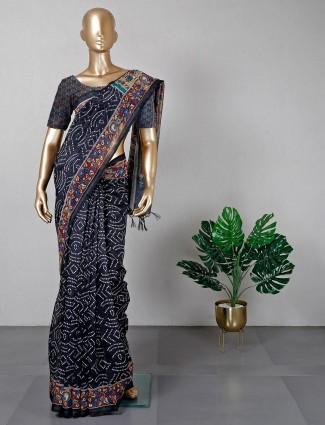 Black festive session saree in cotton
