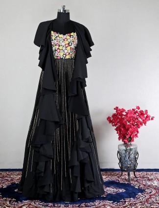 Black georgette party wear gown