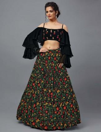 Black georgette wedding wear lehenga choli for women