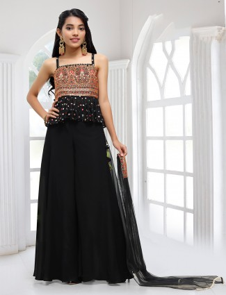 Black palazzo suit for girls with aabla details