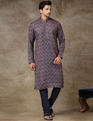 Black printed silk festive wear kurta suit