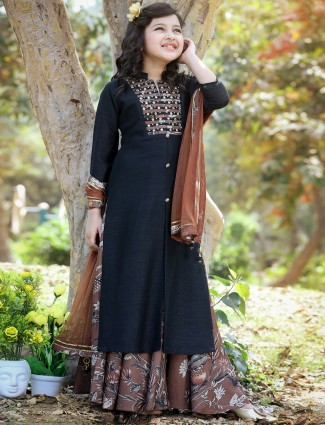 Black punjabi style palazzo suit for girls in cotton