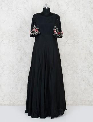 Black satin silk floor length anarkali salwar suit