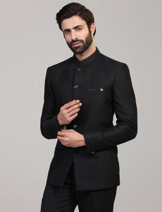 Black solid jodhpuri blazer for mens