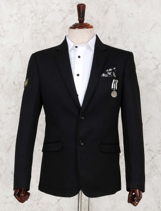 Black solid terry rayon blazer for mens