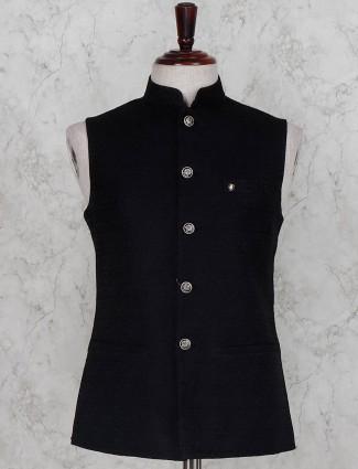 Black solid terry rayon fabric waistcoat