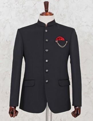 Black terry rayon jodhpuri blazer