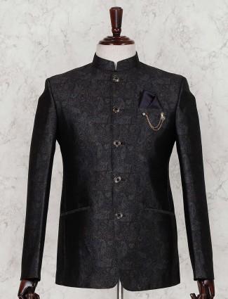Black terry rayon printed jodhpuri suit