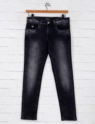 Black washed slim fit denim jeans