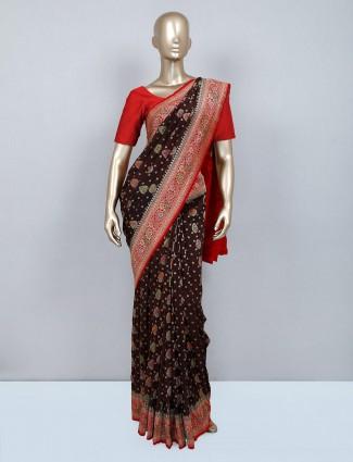 Black wedding wear muga silk saree