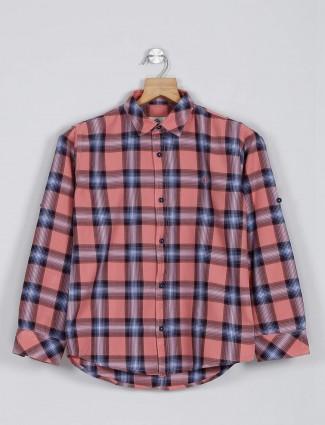 Blazo peach checks casual wear shirt