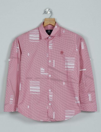Blazo red printed cotton shirt