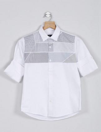 Blazo white color printed shirt