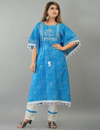 Blue amazing cotton printed festive wear punjabi style pant suit