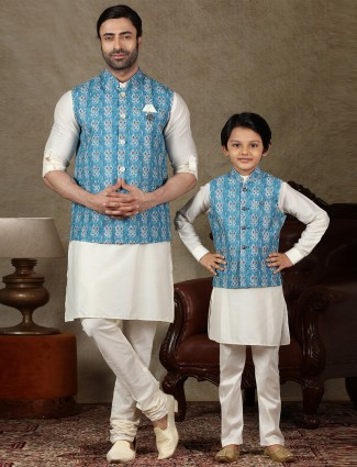 Blue and cream cotton father and son concept waistcoat set
