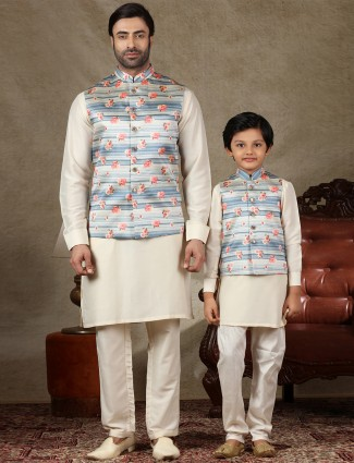 Blue and cream raw silk waistcoat set for father and son
