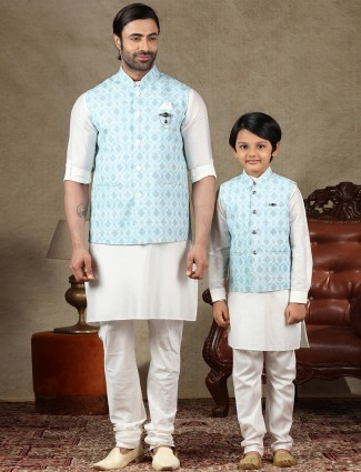 Blue and off white waistcoat set for father and son in cotton