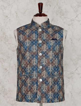Blue brown thread work waistcoat