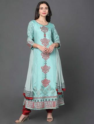 Aqua chanderi silk punjabi salwar suit