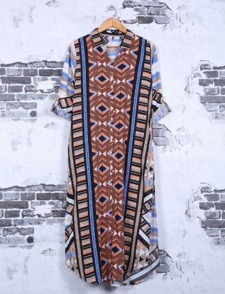 Blue color cotton printed casual kurti