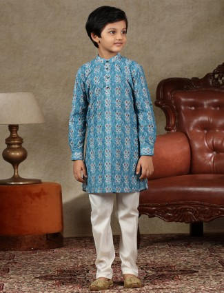 Blue cotton fabric boys kurta suit for festive