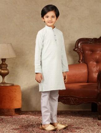 Blue cotton festive kurta suit