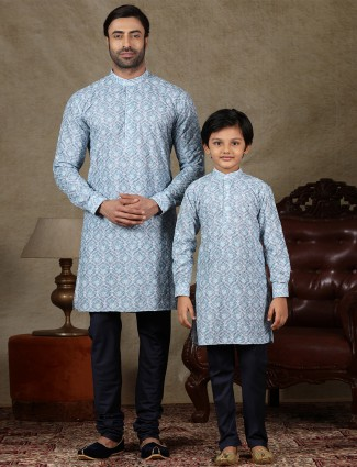 Blue cotton festive wear kurta suit with father and son concept