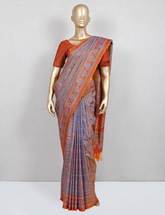 Blue cotton saree for women