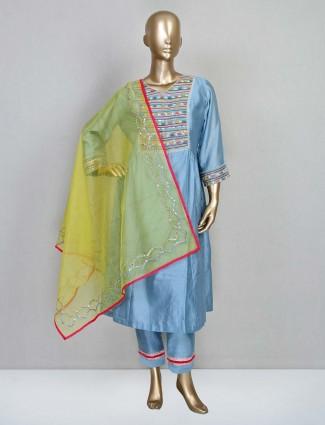 Blue cotton silk designer wedding wear salwar kameez