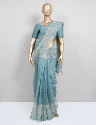 Blue festive wear cotton saree