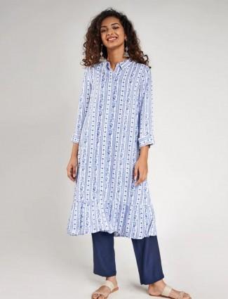 Blue festive wear cotton wear kurti