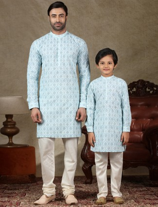 Blue full sleeves cotton father and son kurta suit
