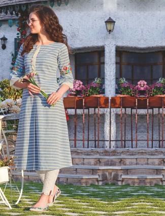 Blue hue cotton stripe pattern punjabi kurti