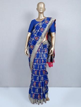 Blue latest muga silk saree for wedding functions