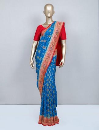Blue muga silk wedding wear silk saree