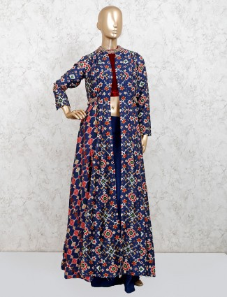 Blue patola silk indo western palazzo suit for party
