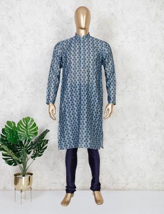 Blue printed cotton festive wear kurta suit