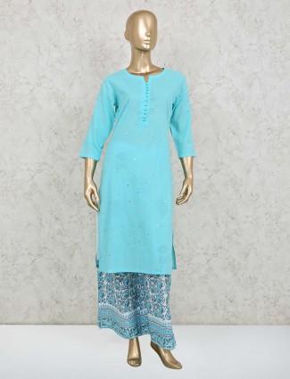Blue printed cotton festive wear suit