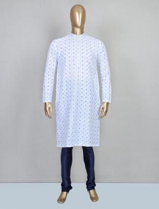 Blue printed cotton kurta suit festive wear