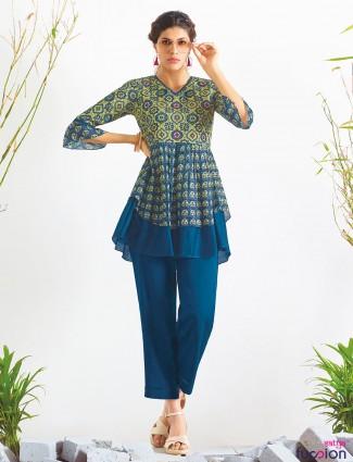 Blue printed cotton designer kurti