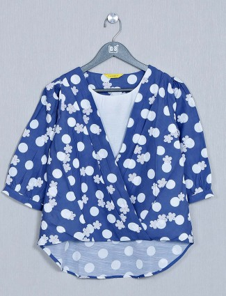 Blue printed women cotton casual top