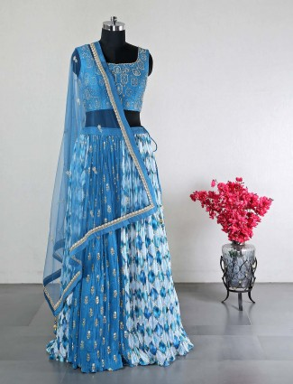 Blue raw silk wedding ocacsions lehenga